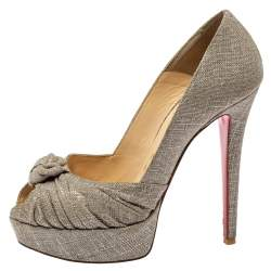 Christian Louboutin Metallic Grey Fabric Knotted Peep Toe Pumps Size 37
