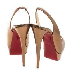 Christian Louboutin Metallic Bronze Leather Lady Peep Toe Platform Slingback Sandals Size 38