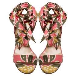 Christian Louboutin  Multicolor Satin Sandale Du Desert  Lace up Sandals 37.5
