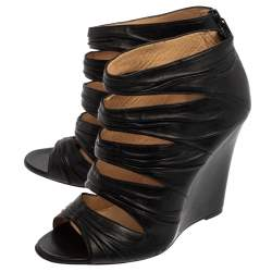 Christian Louboutin Black Leather Ruched Cut Out Developpa Booties Size 39