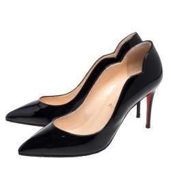 Christian Louboutin Black Patent Leather Hot Chick  Pumps Size 37.5