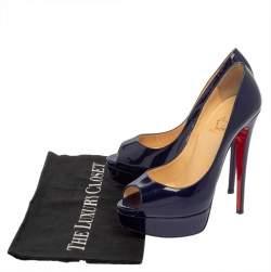 Christian Louboutin Blue Patent Leather Lady Peep  Platform Pumps Size 37
