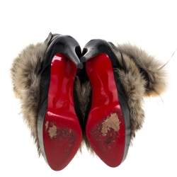 Christian Louboutin Fur And Leather Toundra Coyote Ankle Boots Size 41