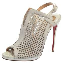 Christian Louboutin White Leather Escriminette Booties Size 36.5