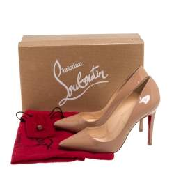 Christian Louboutin Beige Patent Leather Pigalle Pumps Size 36