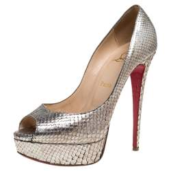 Christian Louboutin Python Embossed Leather Very Prive Pumps Size 38.5