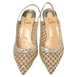 Christian Louboutin Gold Leather and Mesh Miluna Slingback Sandals Size 37