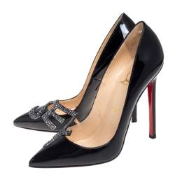 Christian Louboutin Black Patent Leather Sex Igalle Pumps Size 37