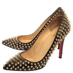 Christian Louboutin Black Leather Pigalle Spikes Pumps Size 40