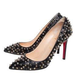 Christian Louboutin Black Leather Pigalle Spikes Pumps Size 38.5