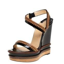 Christian Louboutin Black/Brown Patent And Leather Trepi Wedge Platform Slingback Sandals Size 39