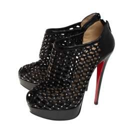 Christian Louboutin Black Leather Embellished Kasha Caged Booties Size 36.5