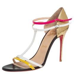 Christian Louboutin Multicolor Python Embossed Leather And Leather Arnold Sandals Size 40.5