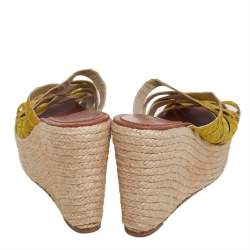 Christian Louboutin Yellow Fabric Espadrilles Wedge Sandals Size 38