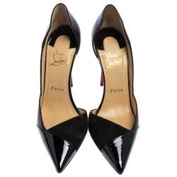 Christian Louboutin Black Suede And Patent Leather D'orsay Pumps Size 38