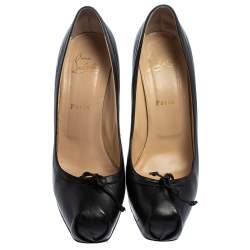 Christian Louboutin Black Leather Lolo Bow Pumps Size 40