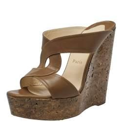 Christian Louboutin Brown Leather Rotondodo Cork Wedge Slide Sandals Size 39.5