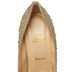 Christian Louboutin Gold Crystal Embellished Lady Peep Toe Aurora Boreale Platform Pumps  Size 39.5