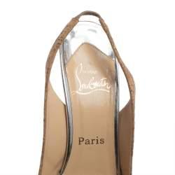 Christian Louboutin Beige Cork Catenita Platform Slingback Sandals Size 39
