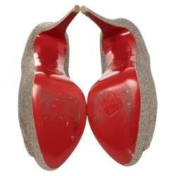 Christian Louboutin Multicolor Glitter Lady Peep Toe Pumps Size 40