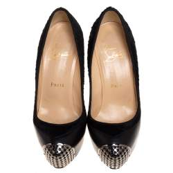 Christian Louboutin Black Leather And Pony Hair Maggie Platform Pumps Size 36