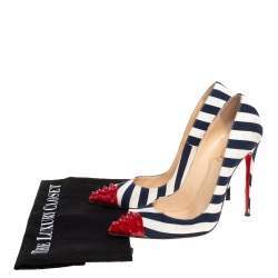 Christian Louboutin Blue/ White Canvas And Patent Leather Geo Striped Spike Pumps Size 38.5