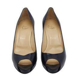 Christian Louboutin Navy Blue Patent Leather Mater Claude 85 Peep Toe Pumps Size EU 40