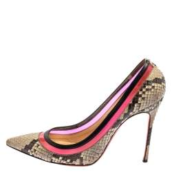 Christian Louboutin Two Tone Python And PVC Paulina Pointed Toe Pumps Size 40