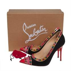 Christian Louboutin Black/Pink Suede And Leather Malabar Hill Spiked Pumps Size 36
