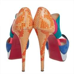 Christian Louboutin Multicolour Python Leather And Suede Pitou Pumps Size 37.5