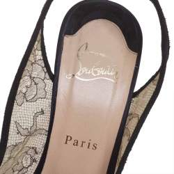 Christian Louboutin Black Satin and Lace Exclu Slingback Sandals Size 39