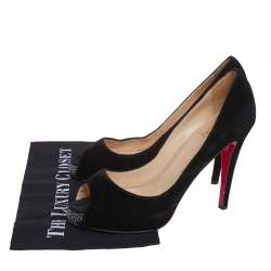Christian Louboutin Black Velvet Very Prive Peep Toe Pumps Size 41