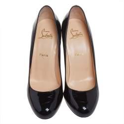 Christian Louboutin Black Patent Leather Simple Pumps Size 39.5