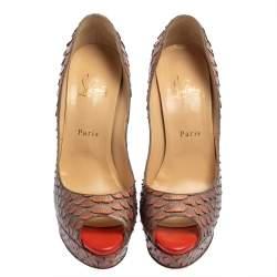 Christian Louboutin Orange/Grey Python Lady Peep Toe Platform Pumps Size 39.5