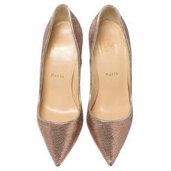 Christian Louboutin Metallic Rose Gold Sequin And Leather So Kate Pumps Size 36.5