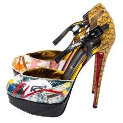 Christian Louboutin Multicolor PVC No. 299 Trash Platform Ankle Straps Pumps Size 38.5
