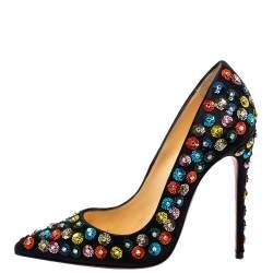 Christian Louboutin Black Satin Embellished Fiorilili Pumps Size 36