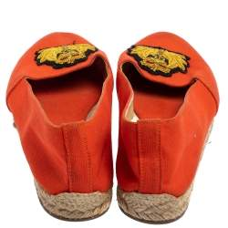 Christian Louboutin Orange Canvas Espadrille Flats Size 36