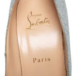 Christian Louboutin Silver Glitter Bianca Platform Pumps Size 39