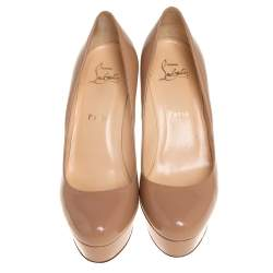 Christian Louboutin Beige Patent Leather Bianca Platform Pumps Size 37.5
