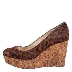 Christian Louboutin Brown Leopard Print Pony Hair Coroclic Cork Wedge Platform Pumps  Size 38