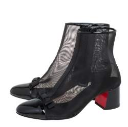 Christian Louboutin Black Mesh And Patent leather Checkypoint Ankle Boots Size 36.5