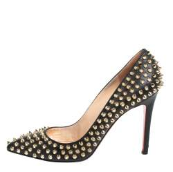 Christian Louboutin Black Leather Pigalle Spikes Pointed Toe Pumps Size 39.5