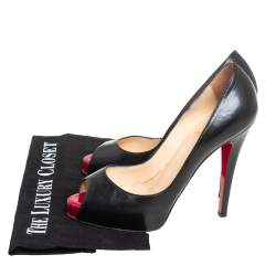 Christian Louboutin Black Leather Very Prive  Pumps Size 37