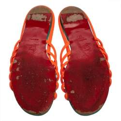 Christian Louboutin Neon Orange Patent Leather Slide Sandals Size 37