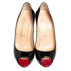 Christian Louboutin Black Patent Leather Very Prive Peep Toe Pumps Size 36.5