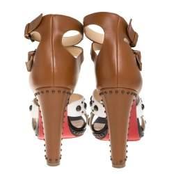 Christian Louboutin three Tone White/Black Leather Studded Sandals Size 40