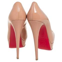 Christian Louboutin Beige Patent Leather Lady Peep Toe Platform Pumps Size 38.5