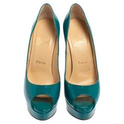 Christian Louboutin Blue Patent Leather Lady Peep Pumps Size 37.5