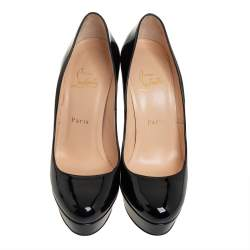 Christian Louboutin Black Patent Leather Bianca Platform Pumps Size 39